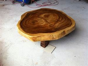 reclaimed acacia wood round solid slab coffee table by With round wood slab coffee table