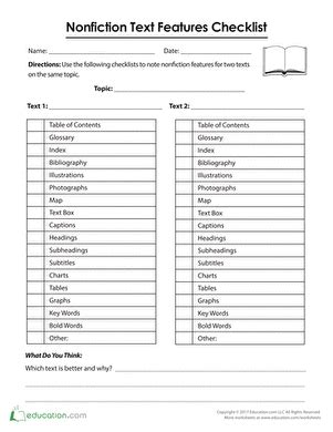nonfiction text features checklist library nonfiction