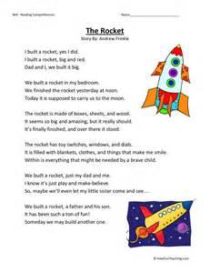 free third grade reading comprehension reading comprehension worksheet the rocket
