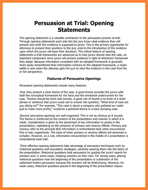 8+ Defense Opening Statement Example  Statement Synonym