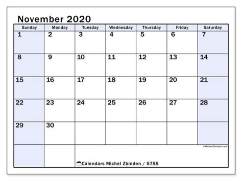 november  calendars ss michel zbinden en