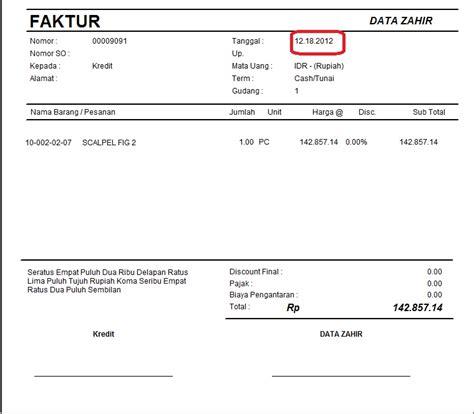 pengubahan format tanggal pada invoice pt zahir