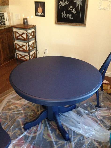 boring oak table redo  navy chalk paint kitchen