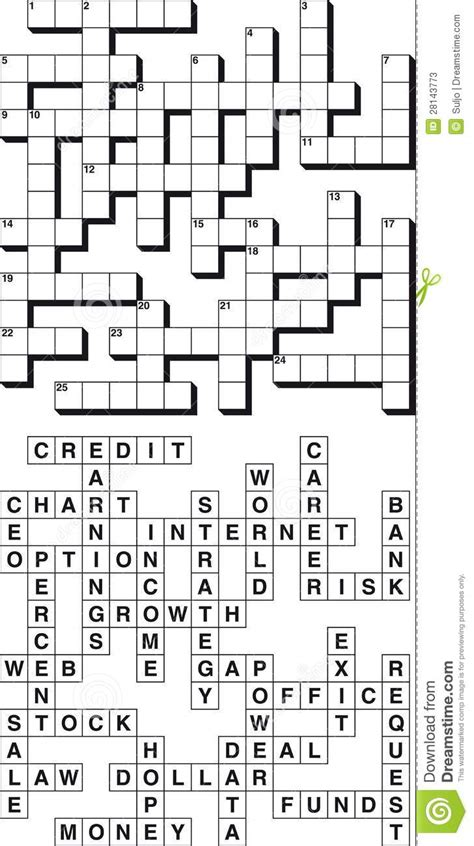 business crossword puzzle stock vector image  blank