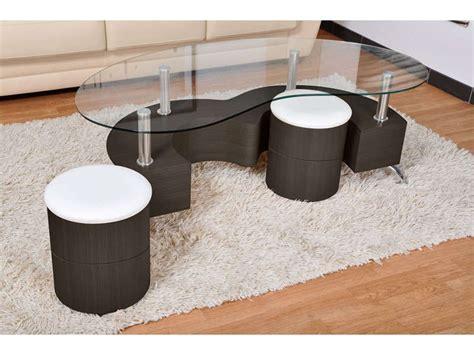 table basse avec poufs integres table basse avec plateau en verre 2 poufs orfee coloris weng 233 vente de table basse conforama