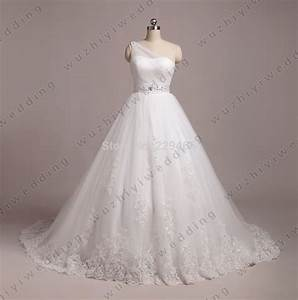 White One Shoulder A line Wedding Dress Pleated Designer ...