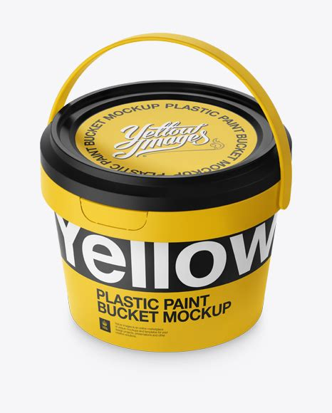 World's best curated collection of mockups for designers. Plastic Paint Bucket Mockup - Halfside view (High-Angle ...