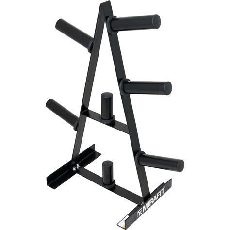mirafit  olympic weight plate storage rack  post gym disc standtreeholder ebay