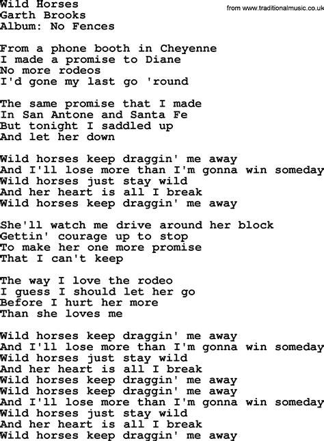 wild horses  garth brooks lyrics