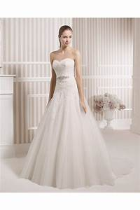 A Line Strapless Sweetheart Venice Lace Tulle Wedding ...