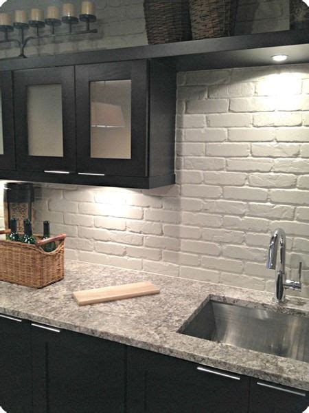 painted brick backsplash faux brick  veneer white