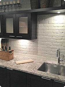 painted brick backsplash faux brick or veneer kitchen With kitchen colors with white cabinets with wall art 3d wall panels