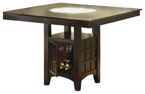 kitchen table with storage base coaster hyde counter height square dining table with