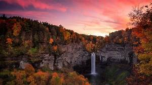 Waterfall, Between, Autumn, Trees, Covered, Forest, With
