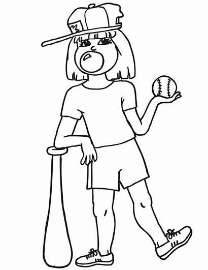 Baseball Coloring Pages Softball Printable Player Clipart