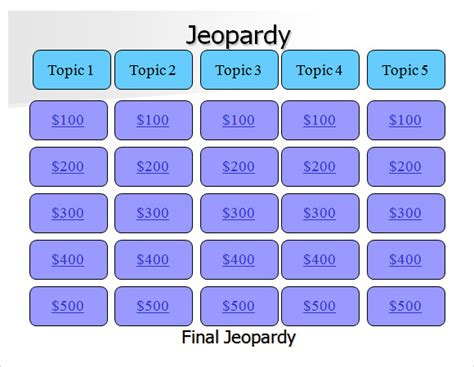 jeopardy powerpoint template   samples examples