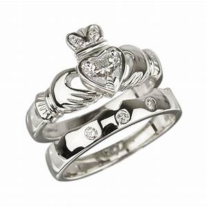 18k white gold claddagh diamond engagement ring wedding With claddagh ring wedding set