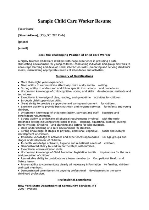Child Care Worker Resume by Child Care Worker Cover Letter Sle Child Care Worker