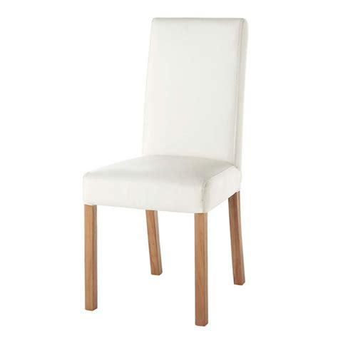chaise blanc chaise imitation cuir blanc rotterdam maisons du monde