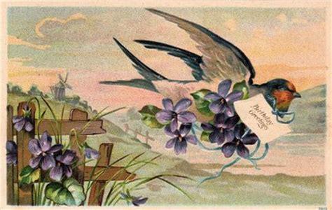 vintage clip art swallow  violets