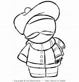 Scarf Coloring Template Winter sketch template