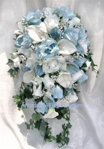 blue wedding flowers light blue white calla roses bridal cascade bouquet silk wedding flowers ebay