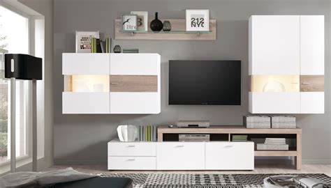 Wohnzimmer Wohnwand Weiß by Wohnwand Monty 351x207x47 Cm Wei 223 Eiche Schrankwand