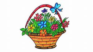 How To Draw Flower Basket Flower Basket Drawing Images ...