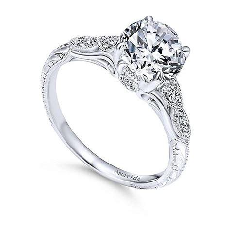 18k white gold vintage inspired amavida engagement ring mullen jewelers