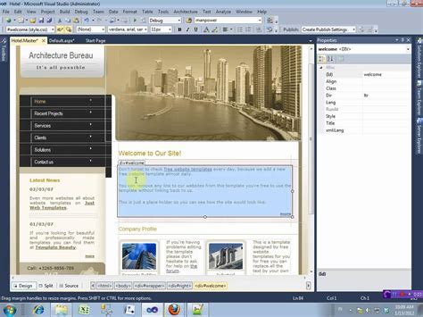 Template Asp Net Free by Master Page Asp Net With Free Template