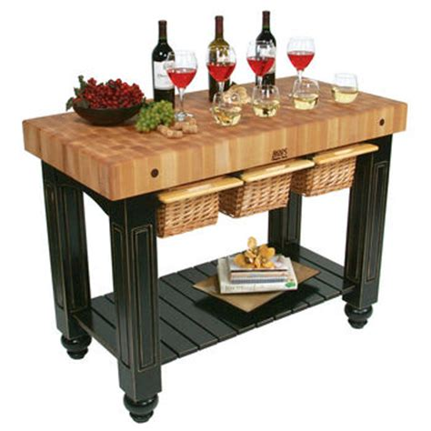 kitchen island with baskets boos solid maple gathering block iii with 3 pull out 5199