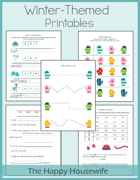 winter worksheets  printables pre   early