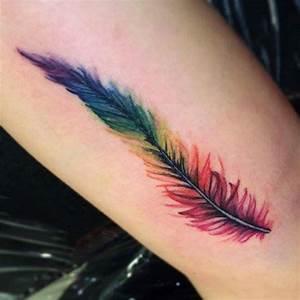 Pluma de Colores Tatuajes para Mujeres