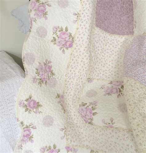 shabby chic bedding in lavender queen bed country lavender shabby rag roses chic patchwork quilt bedspread set ebay