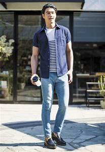 Picture Of blue jeans moccasins a striped tee and a navy shirt