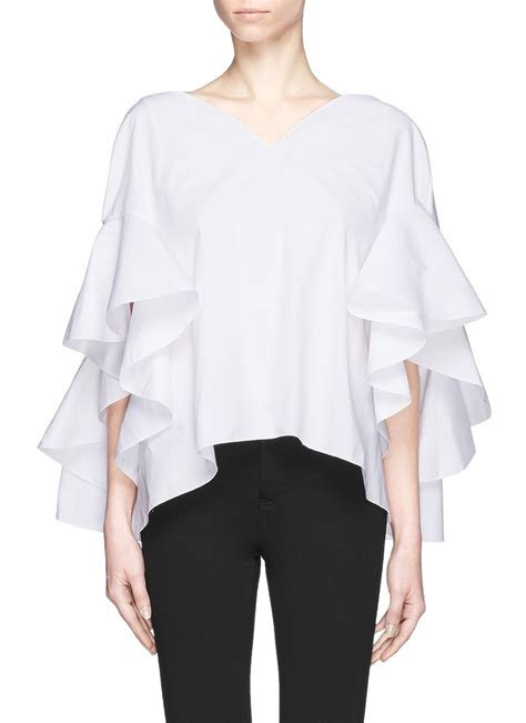 ruffle pleated blouse delpozo cascade ruffle sleeve cotton top in white lyst
