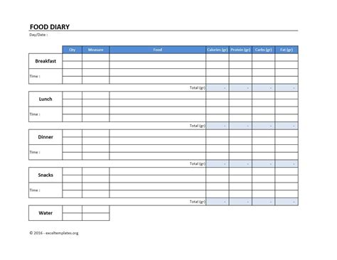 food diary template exceltemplatesorg