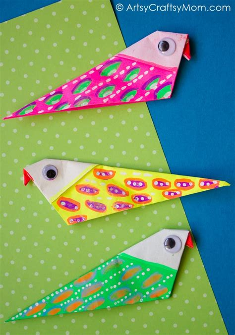 easy  colorful diy origami bird magnets