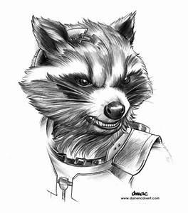 DMAC's Art Blog, Pencil drawing for my Rocket Raccoon piece.