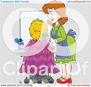 Cartoon of a Female Hairstylist Cutting a Clients Hair ...