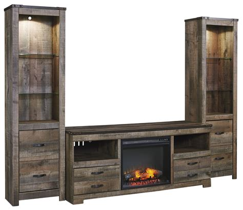 tv stands with fireplace signature design by trinell rustic large tv stand w