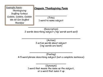 cinquain poem template thanksgiving cinquain poem templates by the bookworm boutique tpt
