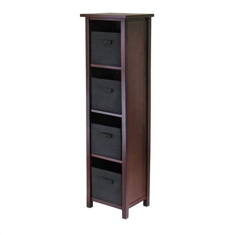 Black Bookcase With Baskets by 5 Tier Storage Shelf With 4 Foldable Black Fabric