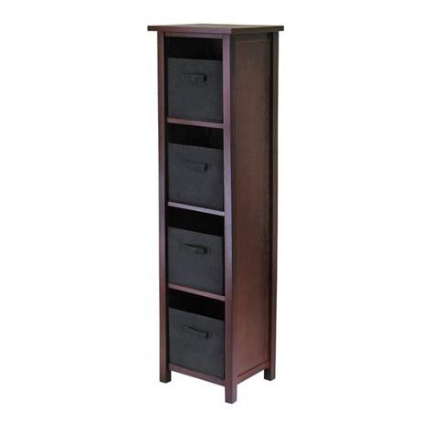 tier tall storage shelf   foldable black fabric