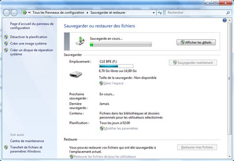 sauvegarde bureau windows 7 sauvegarde et restauration sous windows 7 bts sio