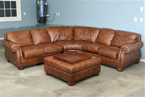 Stickley Audi Leather Sectional Sofa With Coffee Table