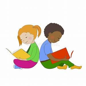Children Reading Books. Boy And Girl Learning. Stock ...