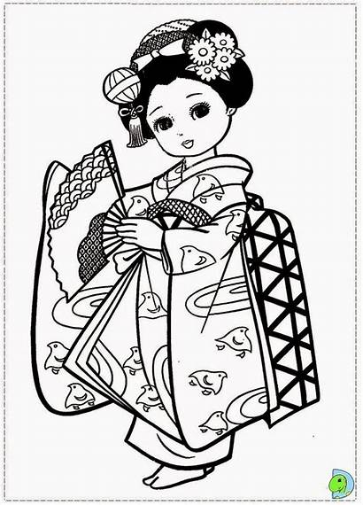 Coloring Japanese Kimono Japan Coloriage Dinokids Kokeshi