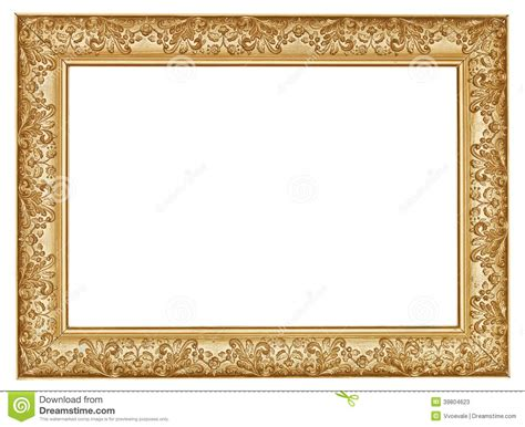 Photo Cornici Ancient Golden Carved Wide Wooden Picture Frame Stock