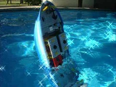 lego ships sinking in water lego cargo ship on a pool